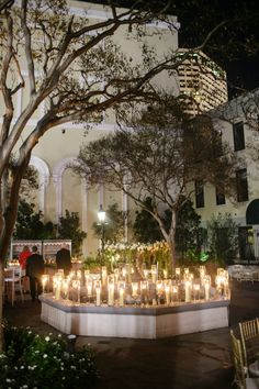 Board of Trade courtyard at night | How to transform an open ballroom with stunning decor | Sapphire Events | Greer G Photography | Board of Trade | White and Gold Wedding | Winter Wedding Inspiration | White and Green Wedding | Ballroom wedding