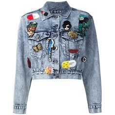 Alice+Olivia multi patch denim jacket ($1,030) ❤ liked on Polyvore featuring outerwear, jackets, blue, blue jean jacket, blue denim jacket, patch jacket, alice olivia jacket and patched denim jacket