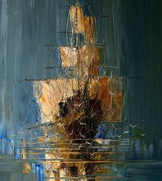 Masterful Textured Oil Paintings of Ships at Sea ^