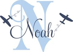 "Airplane Name Decal - Initial and Name vinyl Monogram Wall Lettering for Baby Boy or Girl Nursery Plane 22""H x 32""W. $42.00, via Etsy."
