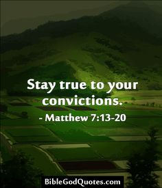 Stay true to your convictions. - Matthew 7:13-20