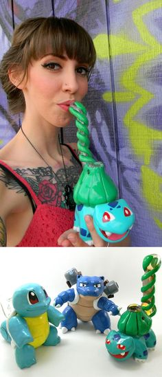 These hand-blown glass pipes and bubblers are the only ones suitable for a true Pokemon Master! Custom order these amazing works of art and embark on new and wild adventures with your favorite companion. #Pokemon #weed