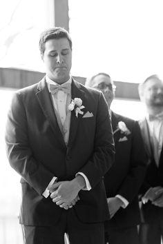 Silver & Lace vintage barn wedding.  photo by The Tarnos, Happy groom.