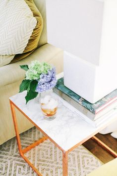 Marble tile in lieu of contact paper | 9 Chic DIY Side Tables via @domainehome
