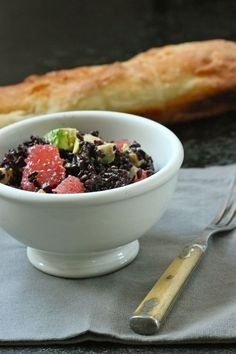 Black Rice Salad w/ #Avocado and #Grapefruit - a gorgeous #vegetarian salad