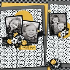 Love this scrapbook page! Like the black and white with a splash of color. Could use any color.