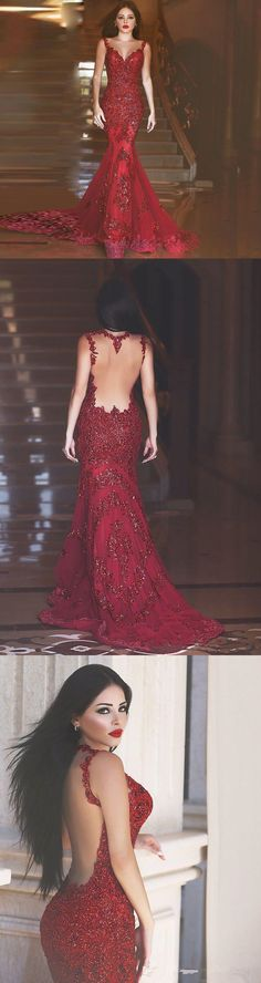 Mermaid Lace Burgundy Prom Dress Illusion Back pst398 - Thumbnail 4