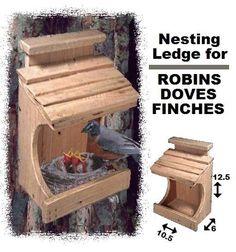 Bird House Plans 730779477022882398 - Ark Workshop Cedar Robin House Nesting Ledge Shelf Platform also for Doves & Finches Bird House Feeder, Diy Bird Feeder, Humming Bird Feeders, Small Bird Feeder, Bird Suet, Homemade Bird Houses, Bird Houses Diy, Bird House Plans, Bird House Kits