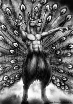 Adramelech- Christian myth: a hypocritical demon that was depicted with a human torso, mule head, and a peacock feathers. He was the chancellor of hell.