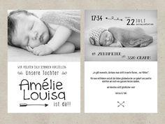Einladungskarten - Geburtskarte - arrow - ein Designerstück von stil-arten bei DaWanda
