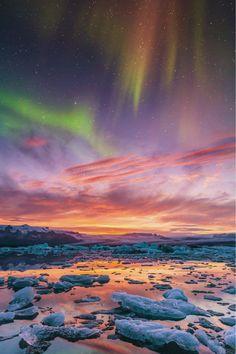 Aurora over Jökulsárlón by Bernd Schiedl
