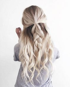 Half Up Braid created with Tressmerize extensions kit for short hair. Innovative 6 piece kit that includes 5 clip-in hair extensions strands with a hand-made hair topper that helps your seamlessly blend everything together for a most natural look and feel. #tressmerize