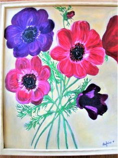 Grande peinture encadrée Anémones,peinture botanique,fleurs du jardin,peinture encadrée fleurs,Art mural fleurs Handmade Shop, Handmade Toys, Etsy Handmade, Art Mural, Wall Art, Creative Gifts, Flower Art, Etsy Seller, Etsy Shop