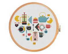 Sampler Heart USA Cross stitch pattern by PatternsCrossStitch