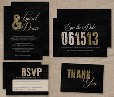 Glitter Wedding Invitation Set #newyearspartyideas #newyear