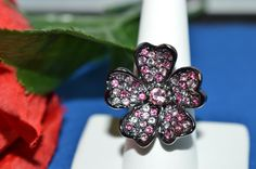 Kenneth Jay Lane RING Rare Swarovski Crystal Large Flower Ring Size 9 Signed Whi #KennethJayLane #Ring