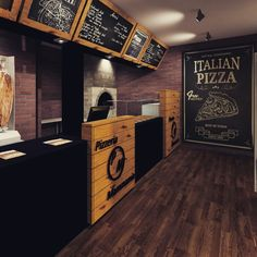 Food truck for sale restaurant Ideas Restaurant Design, Pizzeria Design, Deco Restaurant, Pizza Restaurant, Italian Restaurant Decor, Cafe Interior, Shop Interior Design, Cafe Design, Store Design
