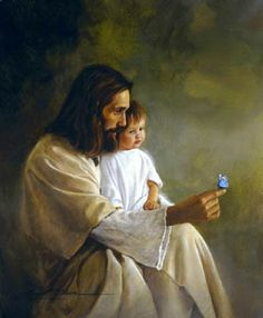 "Matthew But Jesus said, ""Let the little children come to me and do not hinder them, for to such belongs the kingdom of heaven. Jesus Photo, Pictures Of Jesus Christ, Jesus Wallpaper, Church Pictures, Jesus Painting, Jesus Christus, Christian Images, Prophetic Art, Jesus Art"
