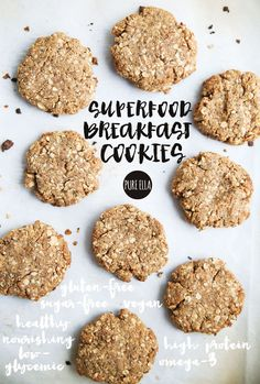 Superfood Breakfast Cookies gluten free protein omega Delicious and healthy breakfast cookies made with superfoods and healthy omega 3 fatty acids and protein. Protein Desserts, Protein Snacks, Healthy Protein, Healthy Snacks, Protein Bars, Eating Healthy, Cookies Healthy, Gluten Free Cookies, Healthy Breakfast Cookies