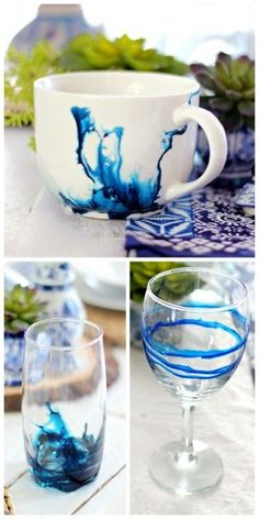 DIY Alcohol Ink Mug and Glasses Tutorial at Babble.This is such an easy DIY and you can experiment on Dollar Store mugs and glassware. And this isn't the old Babble with painfully slow moving slideshows etc… You can use alcohol inks on glossy paper,. Alcohol Ink Glass, Alcohol Ink Crafts, Alcohol Ink Painting, Alcohol Glasses, Alcohol Ink Tiles, Diy Cadeau Noel, Painted Wine Glasses, Sharpies, Bottle Crafts