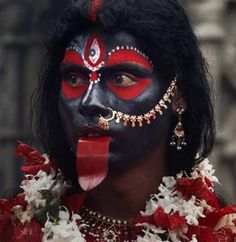 Kali sadhu  A Sadhu dressed like Goddess Kali during the three-day-long festival celebrated to mark the menstruation period of the goddess, during which the sanctum sanctorum of the shrine remains closed to worshippers. (Photo: AP. Hindu)