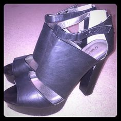 Black size 10 chunky high heels Womens size 11, black, Qupid brand high heels. They have some scuff marks on the heels but could easily be covered. Qupid Shoes Heels