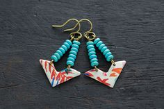 Colorful Triangle Red and Turquoise Vintage Tin Earrings with Antique Brass Findings, Boho Chic Triangle Jewelry