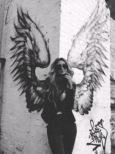 angel, black and white, cool, fashion, girl, girls, grunge ...