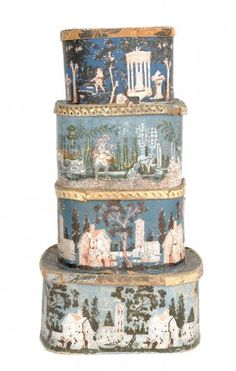 Four wallpaper hat boxes, early/mid c., wi Four wallpaper hat boxes, early/mid c Antique Wallpaper, Band Wallpapers, Wall Boxes, Antique Boxes, Painted Boxes, Wedding Boxes, Covered Boxes, Casket, Art Decor
