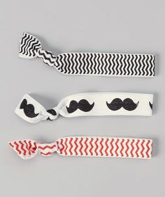 Another great find on #zulily! Red, White & Black Zigzag Mustache Hair Tie Set #zulilyfinds