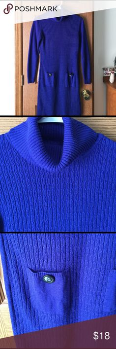 Gorgeous Royal Blue Sweater Dress The color is so pretty. Cute pockets add a lot to this comfy dress. EUC AB Studio Dresses Midi