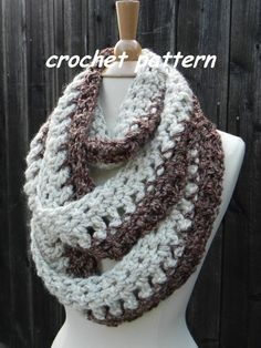 Crochet Pattern Infinity Scarf REVERSABLE Cowl Neckwarmer Circle Scarf INSTANT pdf DOWNLOAD on Etsy, $1.99