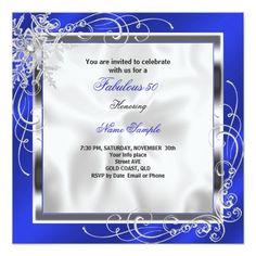 Fabulous 50 Party Royal Blue Silver Dress Heels S9 Custom Invitation