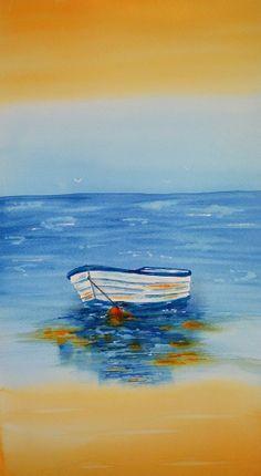 Art Fine ArtWatercolor Painting of a Row Boat on by yankeegirlart, $120.00