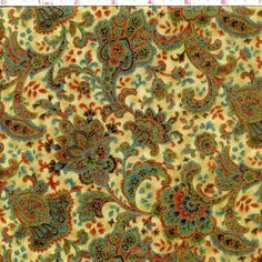 Cotton Quilt Fabric Florence Royal Floral Gold Metallic Hoffman  1/2 Yard - product image