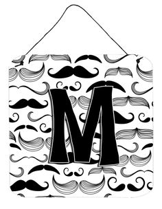 Letter M Moustache Initial Wall or Door Hanging Prints CJ2009-MDS66