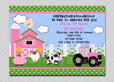 Farm Birthday Invitation Farm Animals Birthday Party Invitation Pink and Green Printable Invitation Party Animals, Farm Animal Party, Farm Animal Birthday, Tractor Birthday, Farm Birthday, Farm Party, Birthday Ideas, Barnyard Party, Birthday Bash