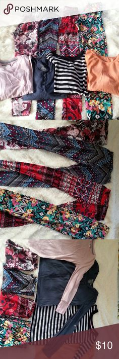 Leggings, long sleeved t-shirt bundle/Jr's, girls. Leggings, long sleeved t-shirt bundle. Juniors Leggings size S, XS. 3 from rue 21, one pair hot kiss-various colors.  Long sleeved t-shirts all girls M (10-12), 2 from poof girl excellence, one Cherokee, one faded glory.  Some have been worn multiple times, some have not been worn at all. Price reflects bundle discount. Sold and packaged together. Rue 21 Other