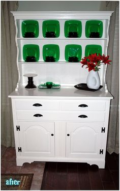 Beautiful re-do.Lovely white hutch with bright green china Allen Hutch Makeover, Furniture Makeover, Diy Furniture, Furniture Design, Distressed Furniture, Painted Furniture, White Hutch, Green China, Dining Room Office