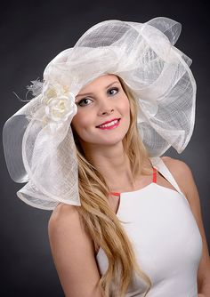 Ivory white wide brim couture hat for weddings by MargeIilane, $175.00