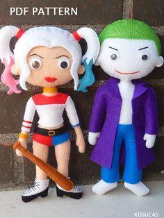 PDF tutorial to make a felt Harley Quinn and Joker. por Kosucas