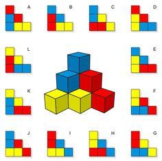 """""""La figura 3D de la imagen se compone de seis cubos de color (dos azules, dos rojos y dos amarillos) y los cubos se tocan sólo con sus bordes y las esquinas, pero no con las caras. Hay 12 posibles vistas 2D de la figura, representadas en la siguiente imagen en los diagramas A-L. ¿Cuáles de dichas vistas son correctas y cuáles no?"""""""