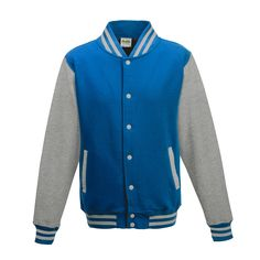 Just Hoods JH043 Sapphire Blue and Heather Grey Varsity Jacket - £19.35