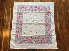 Vintage 1950s Tablecloth Pink Blue Green Purple Flowers 38x33.75  | eBay