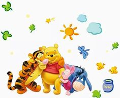 Winnie the Pooh Friends Wall Stickers For Kids Rooms Decorative Sticker Boy Girl Wall Stickers Grass, Kids Room Wall Stickers, Window Stickers, Winnie The Pooh Classic, Winnie The Pooh Friends, Star Wars Stickers, Kids Room Wallpaper, Paddington Bear, Sticker Bomb