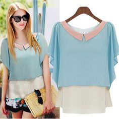 New 2015 Women Summer Style Casual Shirt Chiffon Peter Pan Collar Short Sleeve Patchwork Faux Two Pieces Chiffon Blouse S-XXL Cheap Blouses, Blouses For Women, Ladies Blouses, Blue And White Shorts, Flare, Style Casual, Chiffon Shirt, Chiffon Dress, Chiffon Tops