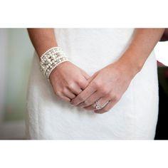 Layered Multi Strand Pearl Wedding Bracelet, Cuff Bracelet, Bridal... ($36) ❤ liked on Polyvore featuring jewelry, bracelets, cuff bangle, white bangle, bridal jewellery, bridal bangles and bride jewelry