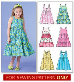 Details About Sewing Pattern Makes Dress Sundress 6 Styles Sizes Toddler 2 To Child 8 Girl Sewing Pattern To Make Your Choice Of Two Sizes Kids Frocks, Frocks For Girls, Little Girl Dresses, Girls Summer Dresses, Summer Sundresses, Sun Dresses, Summer Dress Patterns, Children's Dress Patterns, Toddler Dress Patterns