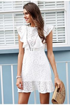 Simplee Embroidery cotton white dress women Ruffle sleeve high waist short dress 2018 Keyhole back casual dress female vestidos White Dresses For Women, Trendy Dresses, Sexy Dresses, Casual Dresses, Short Dresses, Easter Dresses For Women, White Summer Outfits, Summer Dress Outfits, Dress Summer
