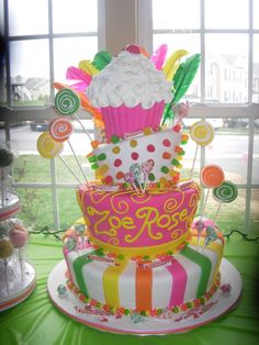 Sweets for Zoe! - This was a candy and cupcake themed topsy-turvy cake made for a little girl's 1st birthday.